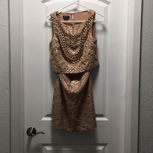 BEBE blush and gold two piece dress set, sz 2, 4